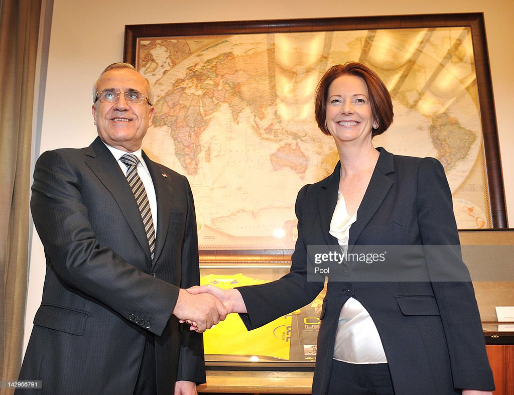 President of Lebanon, Michel Sleiman and Australian Prime Minister <a gi-track='captionPersonalityLinkClicked' href=/galleries/search?phrase=Julia+Gillard&family=editorial&specificpeople=787281 ng-click='$event.stopPropagation()'>Julia Gillard</a> pose for a photo in her office at Parliament House on April 16, 2012 in Canberra, Australia. Suleiman is on a five-day state visit to Australia.