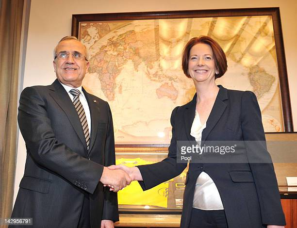 President of Lebanon Michel Sleiman and Australian Prime Minister Julia Gillard pose for a photo in her office at Parliament House on April 16 2012...