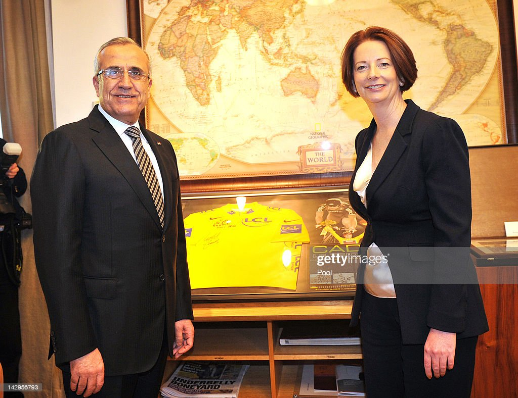 President of Lebanon, <a gi-track='captionPersonalityLinkClicked' href=/galleries/search?phrase=Michel+Sleiman&family=editorial&specificpeople=2069358 ng-click='$event.stopPropagation()'>Michel Sleiman</a> and Australian Prime Minister <a gi-track='captionPersonalityLinkClicked' href=/galleries/search?phrase=Julia+Gillard&family=editorial&specificpeople=787281 ng-click='$event.stopPropagation()'>Julia Gillard</a> pose for a photo in her office at Parliament House on April 16, 2012 in Canberra, Australia. Suleiman is on a five-day state visit to Australia.