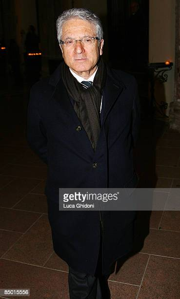 President of Lega Calcio Antonio Matarrese attends Candido Cannavo's funeral on February 24 2009 in Milan Italy Candido Cannavo was the former editor...