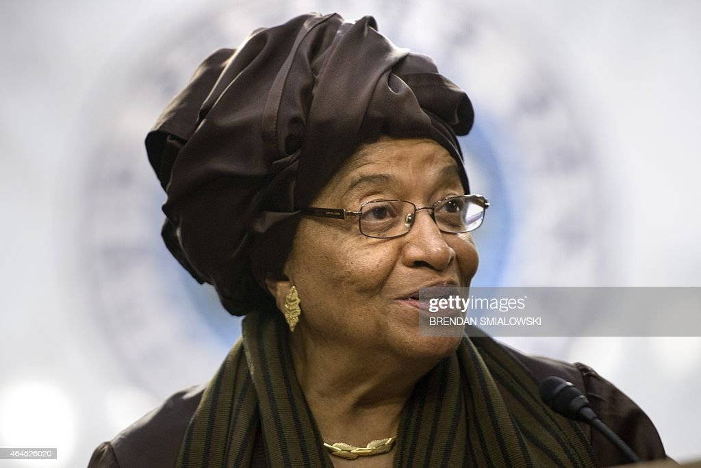 President of Liberia <a gi-track='captionPersonalityLinkClicked' href=/galleries/search?phrase=Ellen+Johnson+Sirleaf&family=editorial&specificpeople=547358 ng-click='$event.stopPropagation()'>Ellen Johnson Sirleaf</a> delivers a speech on Capitol Hill February 26, 2015 in Washington, DC. Sirleaf spoke about US support in the Ebola response in Africa. AFP PHOTO/BRENDAN SMIALOWSKI