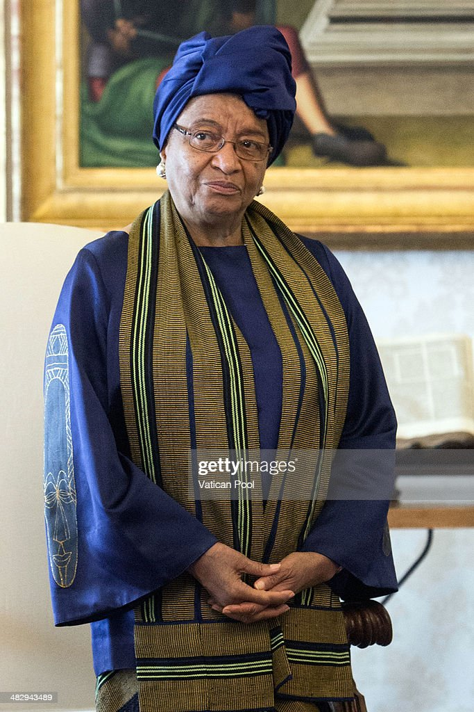 President of Liberia <a gi-track='captionPersonalityLinkClicked' href=/galleries/search?phrase=Ellen+Johnson+Sirleaf&family=editorial&specificpeople=547358 ng-click='$event.stopPropagation()'>Ellen Johnson Sirleaf</a> during a meeting with Pope Francis at the Pontiff's private library in the Apostolic Palace on April 5, 2014 in Vatican City, Vatican. During the cordial discussions, emphasis was placed on the good relations between the Holy See and Liberia, and satisfaction was expressed regarding the positive progress made in strengthening the country's democratic structures.