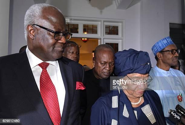 President of Liberia Ellen Johnson Sirleaf flanked by the president of Sierra Leone Ernest Bai Koroma the president of Nigeria Muhammadu Buhari and...