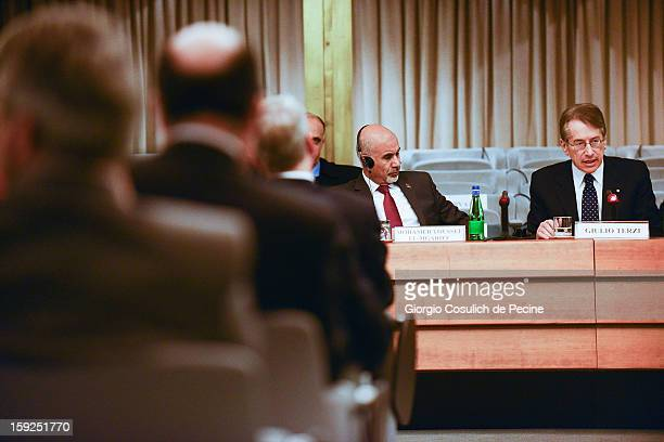President of Libya's General National Congress Mohamed Yousef elMagariaf attends a meeting with Italian Foreign Minister Giulio Terzi at the...