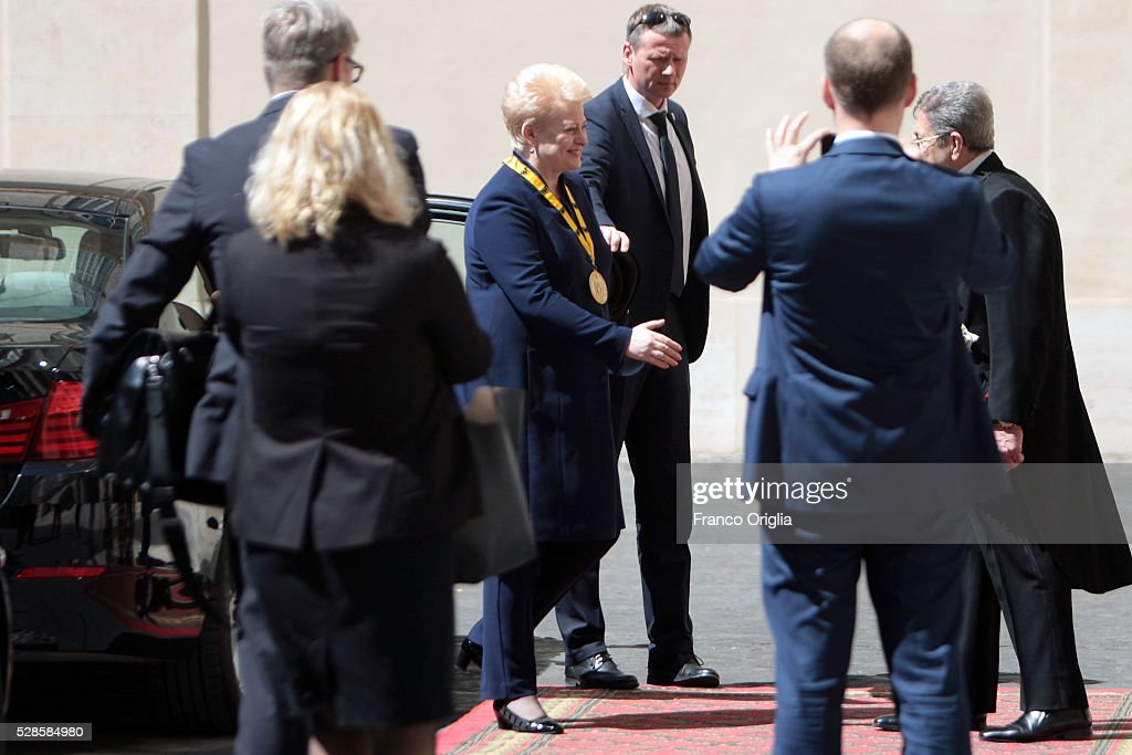 President of Lithuania <a gi-track='captionPersonalityLinkClicked' href=/galleries/search?phrase=Dalia+Grybauskaite&family=editorial&specificpeople=654850 ng-click='$event.stopPropagation()'>Dalia Grybauskaite</a> arrives at the Apostolic Palace for Pope Francis' International Charlemagne Prize of Aachen awarding ceremony on May 6, 2016 in Vatican City, Vatican. The International Charlemagne Prize of Aachen is the oldest and best-known prize awarded for work done in the service of European unification.