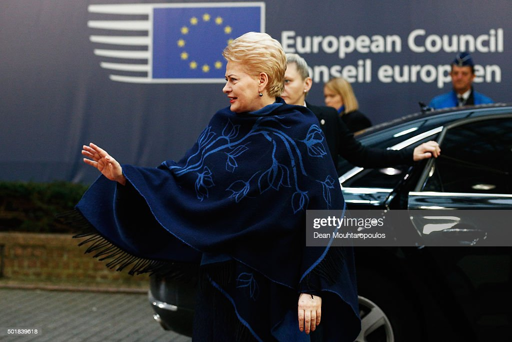 President of Lithuania, <a gi-track='captionPersonalityLinkClicked' href=/galleries/search?phrase=Dalia+Grybauskaite&family=editorial&specificpeople=654850 ng-click='$event.stopPropagation()'>Dalia Grybauskaite</a> arrives for The European Council Meeting In Brussels held at the Justus Lipsius Building on December 18, 2015 in Brussels, Belgium. European leaders are meeting to discuss David Camerons proposed EU reforms, as well as focussing on the migrant crisis, the fight against terrorism and climate change.