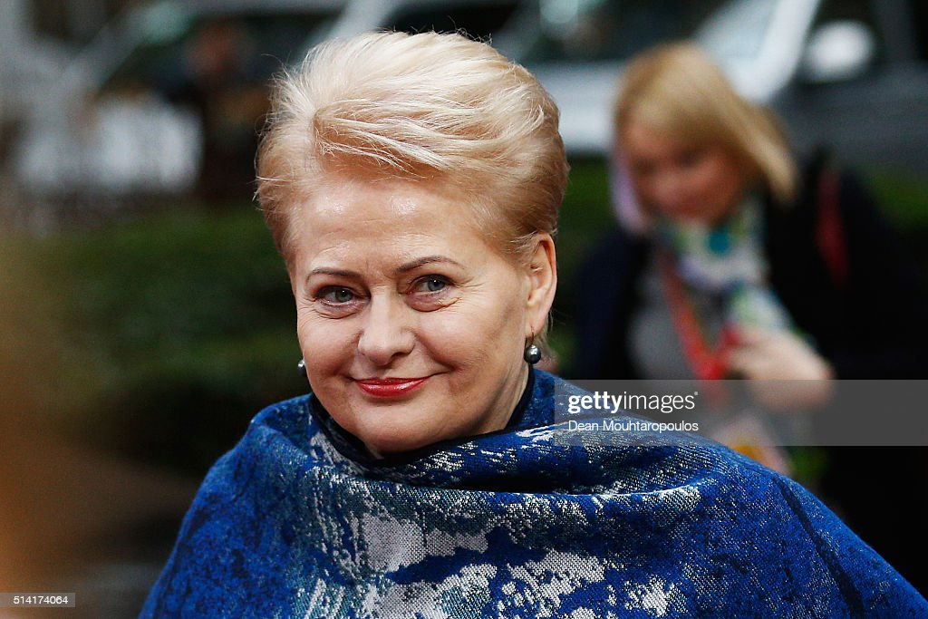 President of Lithuania, <a gi-track='captionPersonalityLinkClicked' href=/galleries/search?phrase=Dalia+Grybauskaite&family=editorial&specificpeople=654850 ng-click='$event.stopPropagation()'>Dalia Grybauskaite</a> arrives for The European Council Meeting In Brussels held at the Justus Lipsius Building on March 7, 2016 in Brussels, Belgium. EU leaders are meeting with Turkish Prime Minister Ahmet Davutoglu in Brussels, to discuss the worst refugee crisis since the Second World War, as thousands of migrants remain stranded in Greece after borders along the Balkan route to Germany are closed.
