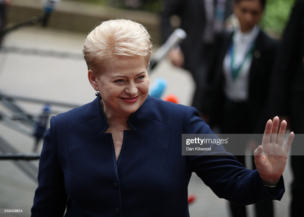 President of Lithuania Dalia Grybauskaite attends a European Council Meeting at the Council of the European Union on June 28, 2016 in Brussels, Belgium. British Prime Minister <a gi-track='captionPersonalityLinkClicked' href=/galleries/search?phrase=David+Cameron+-+Politician&family=editorial&specificpeople=227076 ng-click='$event.stopPropagation()'>David Cameron</a> will hold talks with other EU leaders in what will likely be his final scheduled meeting with the full European Council before he stands down as Prime Minister. The meetings come at a time of economic and political uncertainty following the referendum result last week which saw the UK vote to leave the European Union.