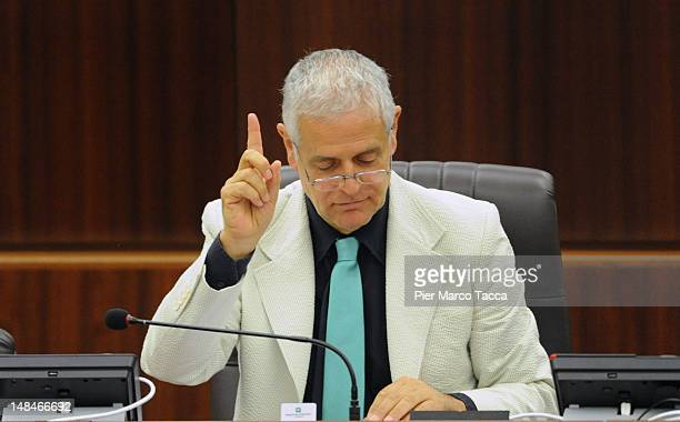President of Lombardy Regional Assembly Roberto Formigoni gestures during Lombardy Regional Assembly on July 17 2012 in Milan Italy Angelino Alfano...