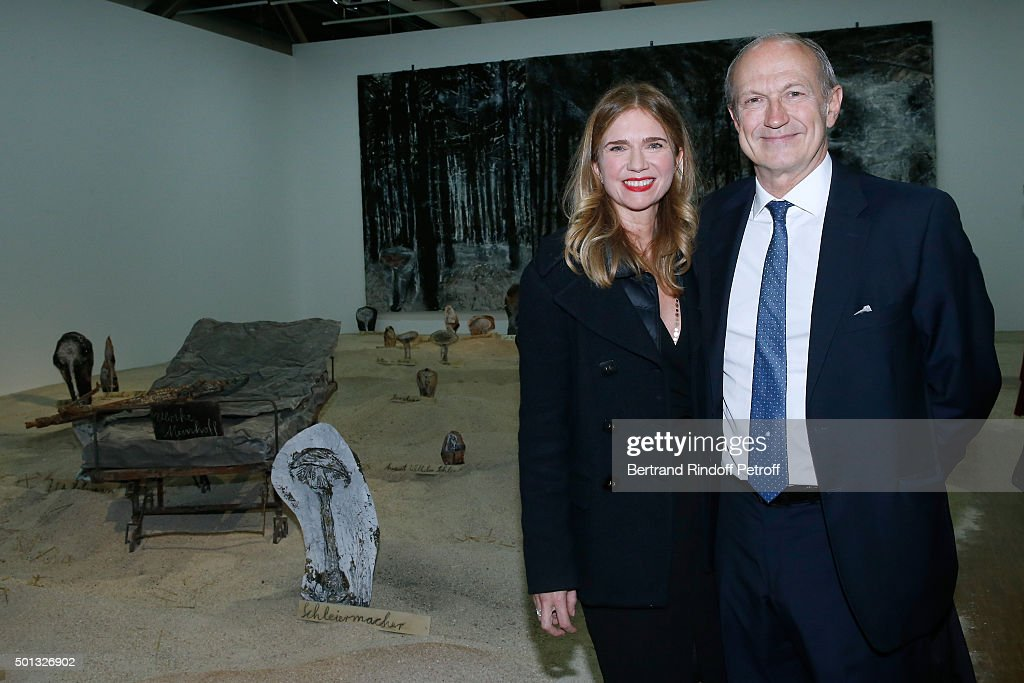 President of l'Oreal <a gi-track='captionPersonalityLinkClicked' href=/galleries/search?phrase=Jean-Paul+Agon&family=editorial&specificpeople=675160 ng-click='$event.stopPropagation()'>Jean-Paul Agon</a> and his companion Sophie Scheidecker attend the Anselm Kiefer's Exhibition : Press Preview, held at Centre Pompidou on December 14, 2015 in Paris, France.
