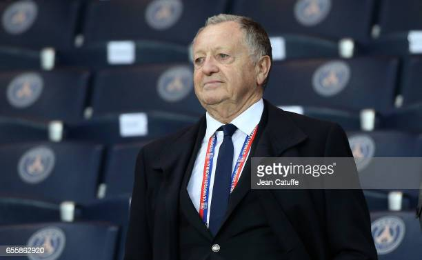 President of Lyon JeanMichel Aulas attends the French Ligue 1 match between Paris SaintGermain and Olympique Lyonnais at Parc des Princes stadium on...
