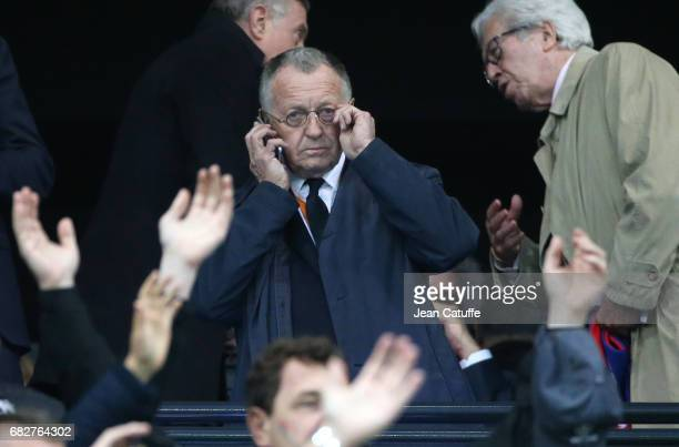President of Lyon JeanMichel Aulas attends the UEFA Europa League semi final second leg match between Olympique Lyonnais and Ajax Amsterdam at Parc...