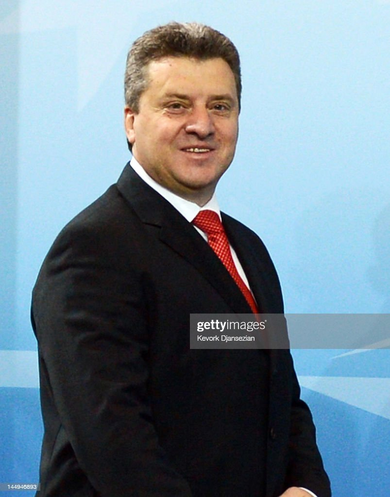 President of Macedonia <a gi-track='captionPersonalityLinkClicked' href=/galleries/search?phrase=Gjorge+Ivanov+-+President&family=editorial&specificpeople=12777955 ng-click='$event.stopPropagation()'>Gjorge Ivanov</a> arrives for a meeting on Afghanistan during the NATO Summit at McCormick Place on May 21, 2012 in Chicago, Illinois. As sixty heads of state converge for the two day summit that will address the situation in Afghanistan among other global defense issues, thousands of demonstrators have taken the streets to protest.