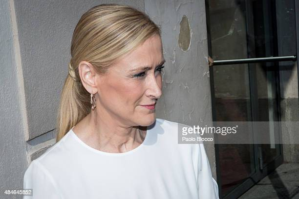 President of Madrid Community Cristina Cifuentes attends the funeral chapel for Lina Morgan at 'La Latina' theatre on August 20 2015 in Madrid Spain
