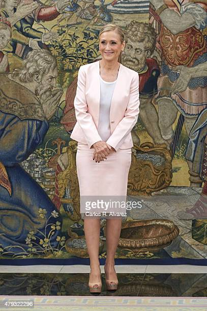 President of Madrid Community Cristina Cifuentes looks on at the Zarzuela Palace on July 3 2015 in Madrid Spain