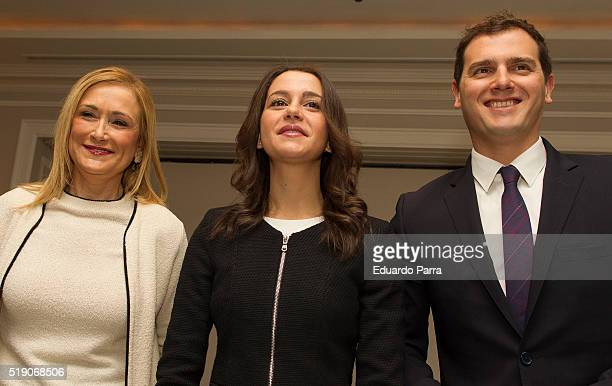 President of Madrid Cristina Cifuente the leader of the political party Ciudadanos in Catalonia Ines Arrimadas and the national leader of Ciudadanos...