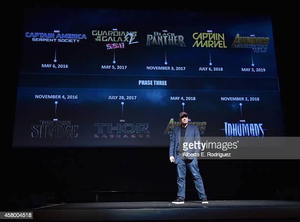 President of Marvel Studios Kevin Feige onstage during Marvel Studios fan event at The El Capitan Theatre on October 28 2014 in Los Angeles California
