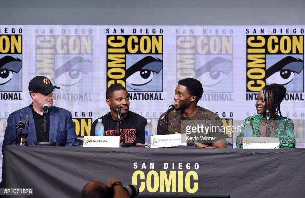 President of Marvel Studios Kevin Feige Ryan Coogler Chadwick Boseman and Lupita Nyong'o from 'Black Panther' attends the Marvel Studios Presentation...