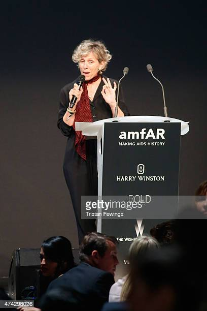 President of MAXXI foundation Giovanna Melandri onstage during amfAR's 22nd Cinema Against AIDS Gala Presented By Bold Films And Harry Winston at...
