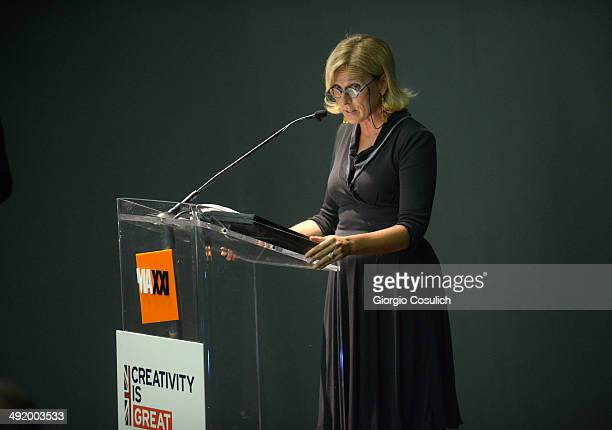President of Maxxi Museum Giovanna Melandri gives a speech at the Maxxi Museum during the visit of Prince Harry on May 18 2014 in Rome Italy Prince...