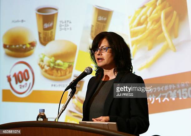 President of McDonald's Japan Sarah Casanova announces the company's first half financial results in Tokyo on July 29 2014 McDonald's Japan...