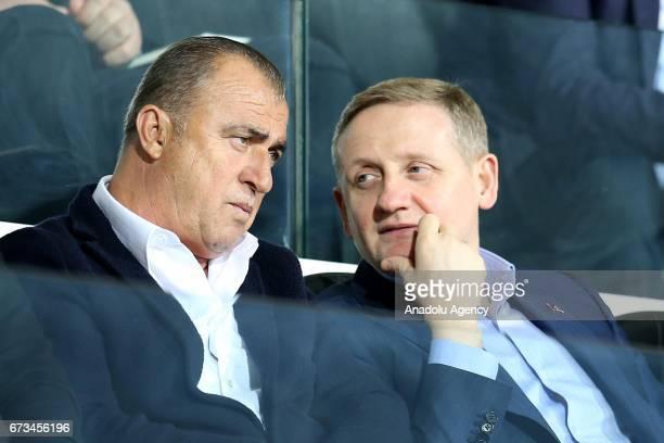 President of Medipol Basaksehir Goksel Gumusdag chats with Manager of the Turkish National Football Team Fatih Terim during the Ziraat Turkish Cup...
