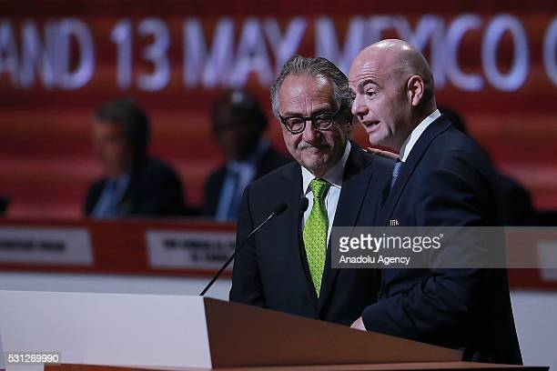 President of Mexican Football Federation Decio de Maria stands near President of FIFA Gianni Infantino as Infantino speaks at the 66th FIFA Congress...