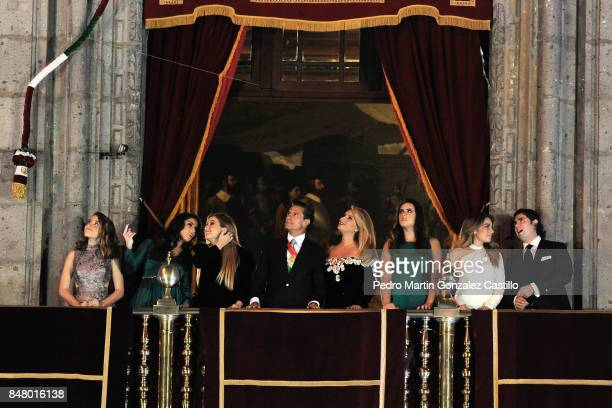 President of Mexico Enrique Peña Nieto and his family enjoy the fireworks during the celebration of Mexican Indepence Day at Zocalo Square on...