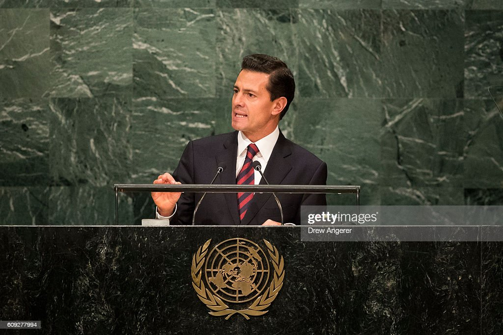 President of Mexico Enrique Pena Nieto addresses the United Nations General Assembly at UN headquarters, September 20, 2016 in New York City. According to the UN Secretary-General Ban ki-Moon, the most pressing matter to be discussed at the General Assembly is the world's refugee crisis.