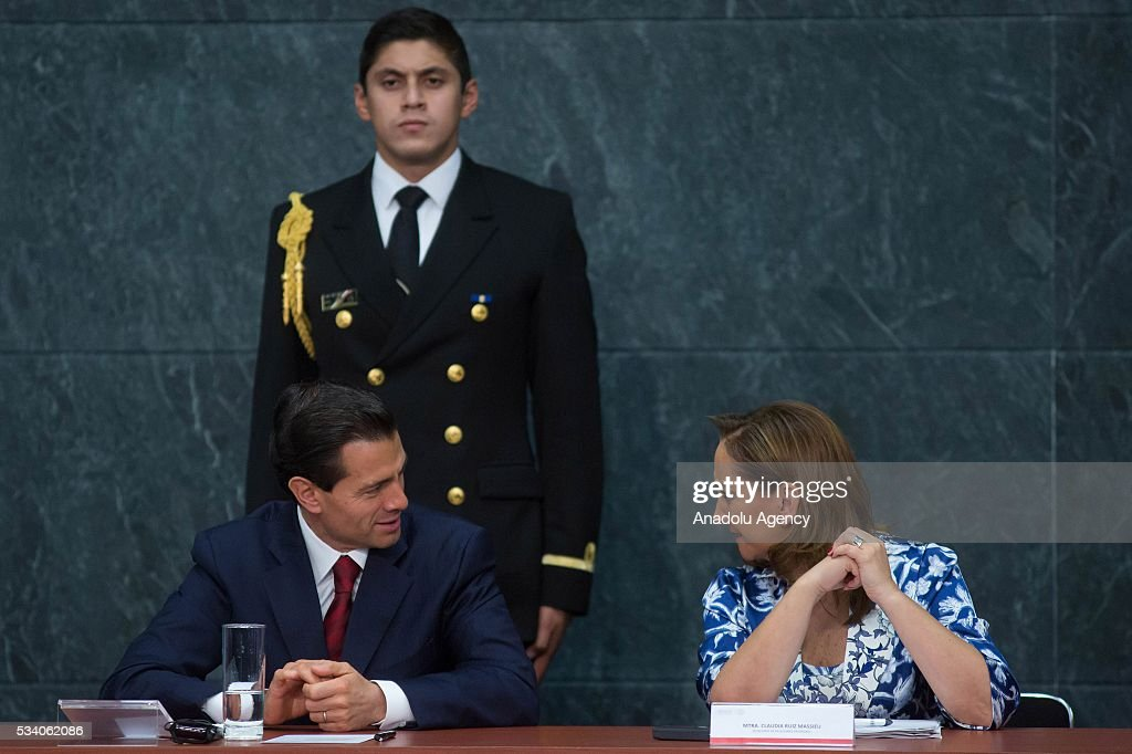 President of Mexico Enrique Pena Nieto (L) and Mexican Secretary of Foreign Affairs Claudia Ruiz Massieu, attend the opening ceremony of the Economic Commission for Latin America and the Caribbean (ECLAC), at Los Pinos presidential residence in Mexico City, Mexico on May 24, 2016. The 36th session of the commission is taking place in Mexico City from May 23-27.
