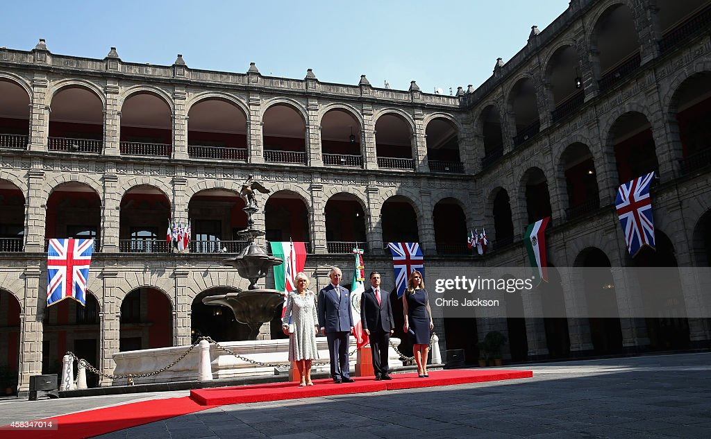 President of Mexico Enrique Pena Nieto and Prince Charles, Prince of Wales, Camilla, Duchess of Cornwall and First Lady of Mexico Anjelica Rivera during an official welcome at the National Palace on November 3, 2014 in Mexico City,Mexico. The Royal Couple are on the second day of a four day visit to Mexico as part of a Royal tour to Colombia and Mexico.
