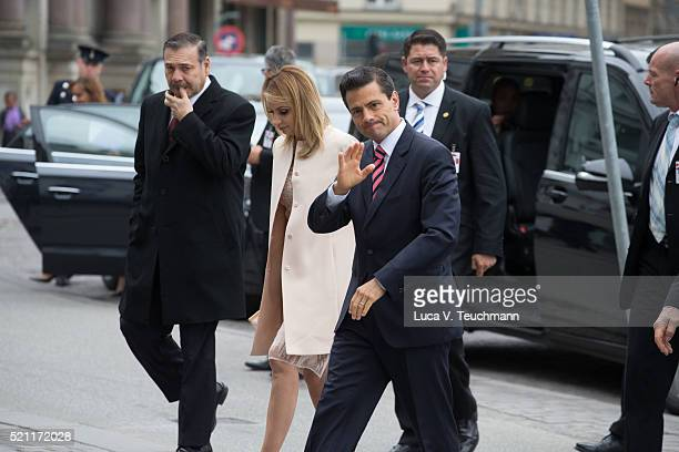 President of Mexico Enrique Pena Nieto and wife Angelica Rivera visit Tjornegaard School during the State visit of the President of The United...