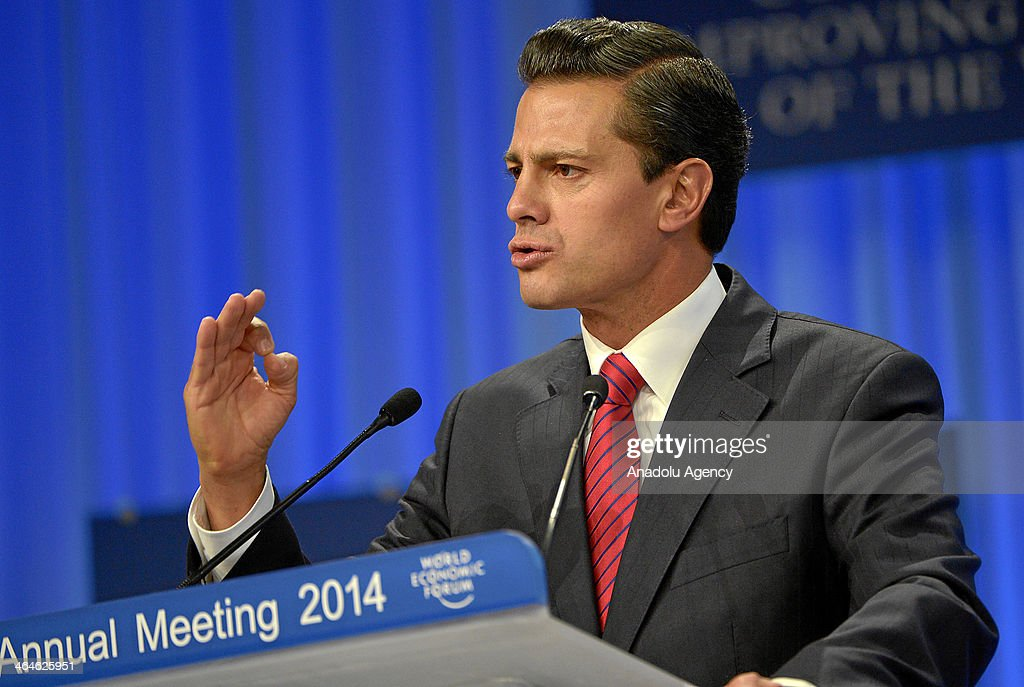 President of Mexico, Enrique Pena Nieto gives a special address during the session chaired by Klaus Schwab, Founder and Executive Chairman of the World Economic Forum at the Annual Meeting 2014 of the World Economic Forum at the congress centre in Davos, Switzerland on January 23, 2014.