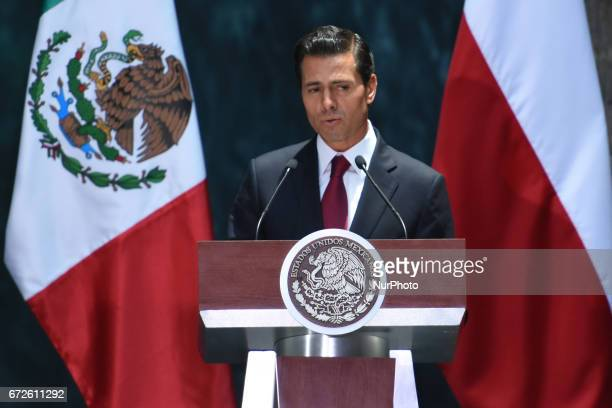 President of Mexico Enrique Pena Nieto speak during the media meeting at National Palace on April 24 2017 in Mexico City Mexico