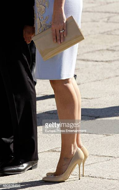 President of Mexico Enrique Pena Nieto's wife Angelica Rivera is received at El Pardo Palace on June 9 2014 in Madrid Spain