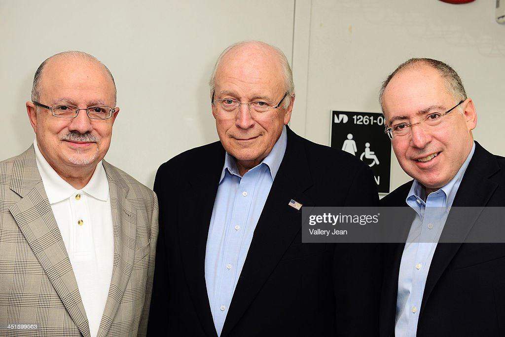 President of Miami Dade College Eduardo J. Padron, Former U.S. Vice President <a gi-track='captionPersonalityLinkClicked' href=/galleries/search?phrase=Dick+Cheney&family=editorial&specificpeople=125149 ng-click='$event.stopPropagation()'>Dick Cheney</a> and Dr. Jonathan Reine Present Heart: An American Medical Odyssey in conversation with Dr. Jonathan Reine at Miami Dade College on November 23, 2013 in Miami, Florida.