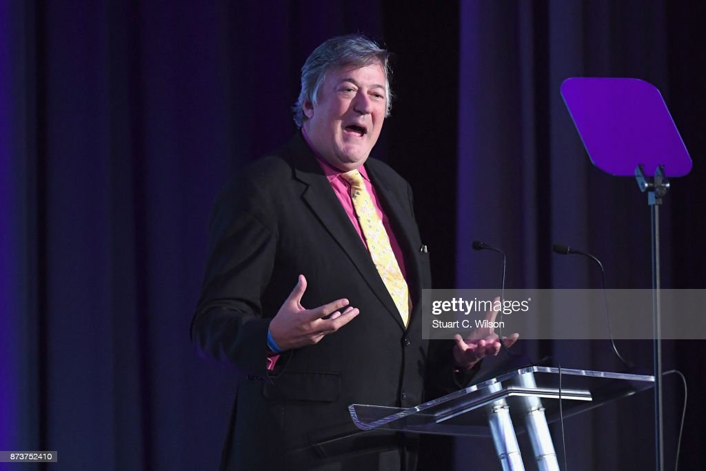 President of Mind Stephen Fry speaks on stage at the Virgin Money Giving Mind Media Awards at Odeon Leicester Square on November 13, 2017 in London, England.