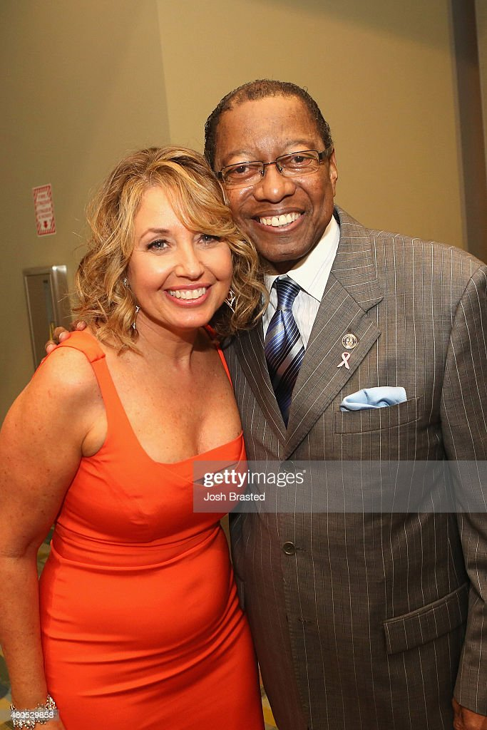 President of Miss Universe Organization Paula M. Shugart (L) and Mayor- President of Baton Rouge Melvin 'Kip' Holden attend 2015 Miss USA Pageant Only On ReelzChannel Press Conference at The Baton Rouge River Center on July 12, 2015 in Baton Rouge, Louisiana.