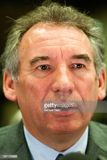 President of MoDem Francois Bayrou attends a press conference at Assemblee Nationale on November 26 2011 in Paris France The press conference was...
