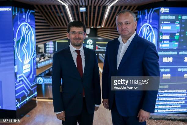 President of Moldova Igor Dodon meets Chairman of the Borsa Istanbul Himmet Karadag during his visti at Borsa Istanbul in Istanbul Turkey on may 23...