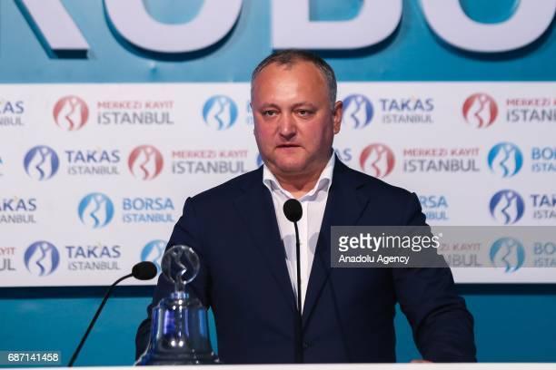 President of Moldova Igor Dodon speaks during his visit at Borsa Istanbul in Istanbul Turkey on may 23 2017