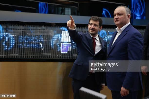 President of Moldova Igor Dodon visits Borsa Istanbul in Istanbul Turkey on may 23 2017