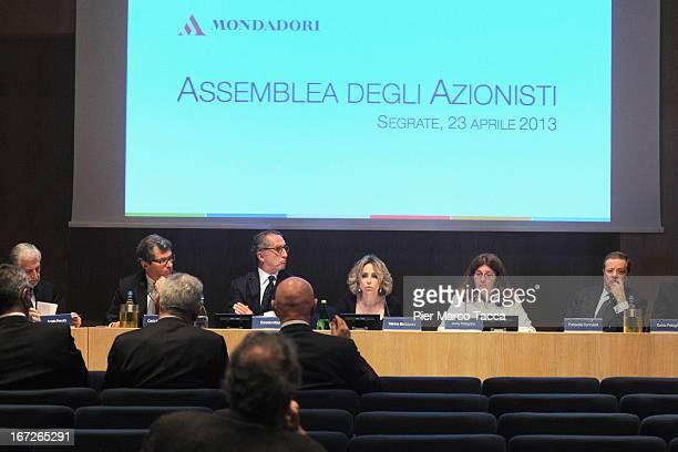 President of Mondadori SpA Marina Berlusconi and CEO of Mondadori Ernesto Mauri attend Mondadori annual shareholders' meeting on April 23 2013 in...