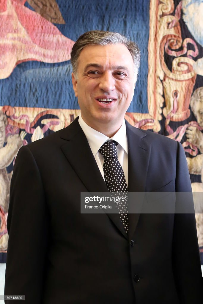 President of Montenegro <a gi-track='captionPersonalityLinkClicked' href=/galleries/search?phrase=Filip+Vujanovic&family=editorial&specificpeople=596296 ng-click='$event.stopPropagation()'>Filip Vujanovic</a> attends an audience with Pope Francis at the Apostolic Palace on March 20, 2014 in Vatican City, Vatican.