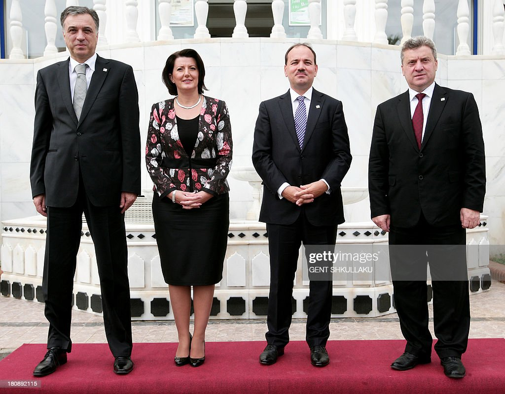 President of Montenegro Filip Vujanovic, President of Kosovo Atifete Jahjaga, President of Albania Bujar Nishani and President of Macedonia <a gi-track='captionPersonalityLinkClicked' href=/galleries/search?phrase=Gjorge+Ivanov+-+President&family=editorial&specificpeople=12777955 ng-click='$event.stopPropagation()'>Gjorge Ivanov</a> pose for a group photograph during the 5th Regional Presidential Summit in Durres on September 17, 2013.