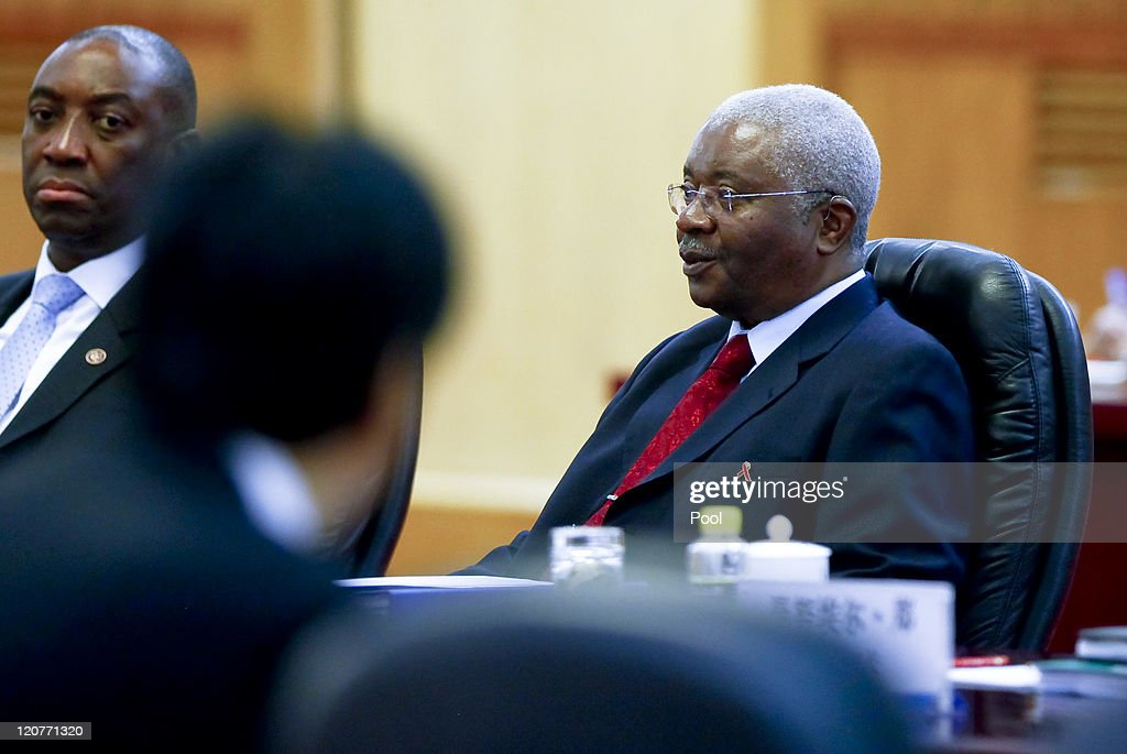 President of Mozambique <a gi-track='captionPersonalityLinkClicked' href=/galleries/search?phrase=Armando+Guebuza&family=editorial&specificpeople=569903 ng-click='$event.stopPropagation()'>Armando Guebuza</a> addresses his counterpart from China, Chinese President Hu Jintao, during their meeting at the Great Hall of the People on August 10, 2011 in Beijing, China. Guebuza is in China for a 6-day official visit at the invitation of Hu Jintao.