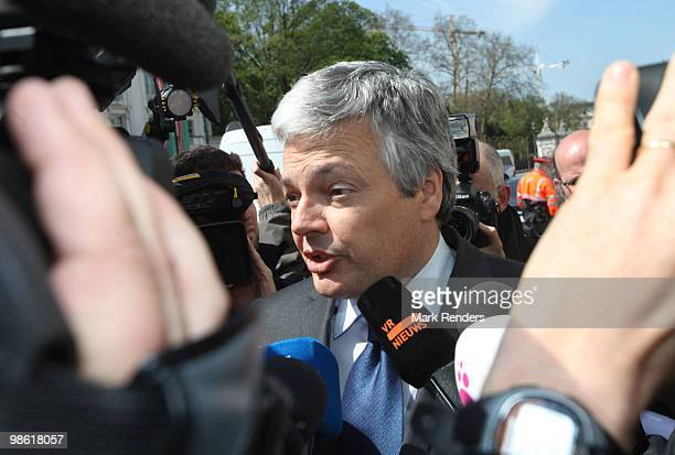 President of MR Didier Reynders talks to the press at the Belgian Federal Parliament on April 22 2010 in Brussels Belgium The Belgian government has...