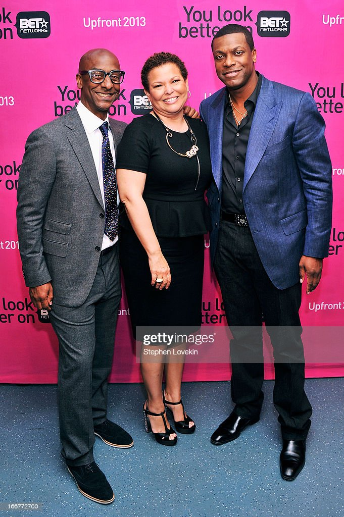 President of Music Programming and Specials for BET Networks Stephen G. Hill, Chairman/CEO of BET Networks Debra Lee, and actor <a gi-track='captionPersonalityLinkClicked' href=/galleries/search?phrase=Chris+Tucker&family=editorial&specificpeople=203254 ng-click='$event.stopPropagation()'>Chris Tucker</a> attend the BET Networks 2013 New York Upfront on April 16, 2013 in New York City.