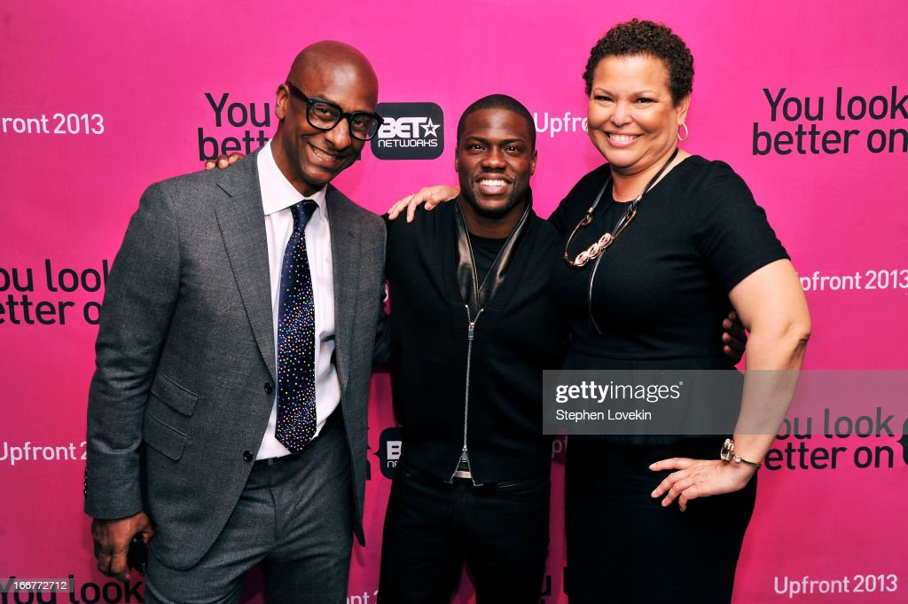 President of Music Programming and Specials for BET Networks Stephen G. Hill, actor Kevin Hart, and Chairman/CEO of BET Networks Debra Lee attend the BET Networks 2013 New York Upfront on April 16, 2013 in New York City.