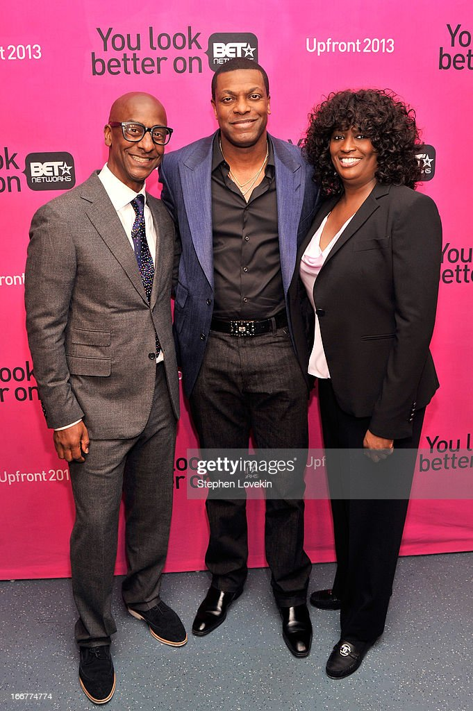 President of Music Programming and Specials for BET Networks Stephen G. Hill, actor <a gi-track='captionPersonalityLinkClicked' href=/galleries/search?phrase=Chris+Tucker&family=editorial&specificpeople=203254 ng-click='$event.stopPropagation()'>Chris Tucker</a>, and President of Original Programming Loretha Jones attend the BET Networks 2013 New York Upfront on April 16, 2013 in New York City.